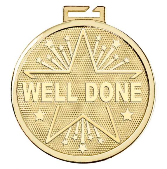 Aura Gold Well Done Medal With Choice of Free Ribbon 50mm (2 ...